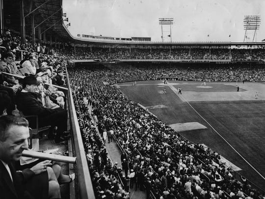 Crosley Field on Opening Day 1967. The park closed on June 24, 1970, and the team moved to Riverfront Stadium.