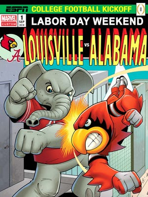 Louisville and Alabama will square off in Orlando to open their 2018 football seasons, a game featured here with a special Marvel Comics cover for ESPN.