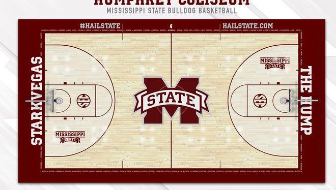 Mississippi State's new basketball court design.