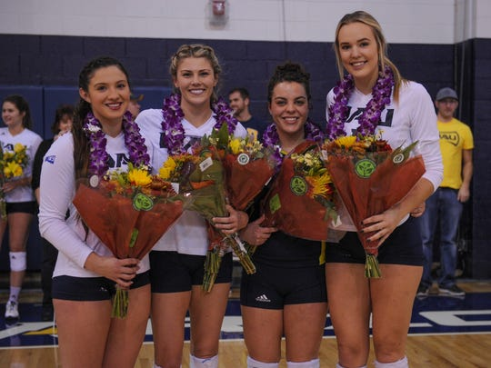 The NAU volleyball seniors, from left, Jordan Leiter,