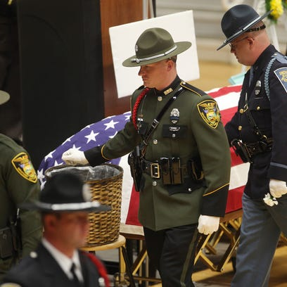 Hundreds attended the funeral of Sheriff Mike Scroggins