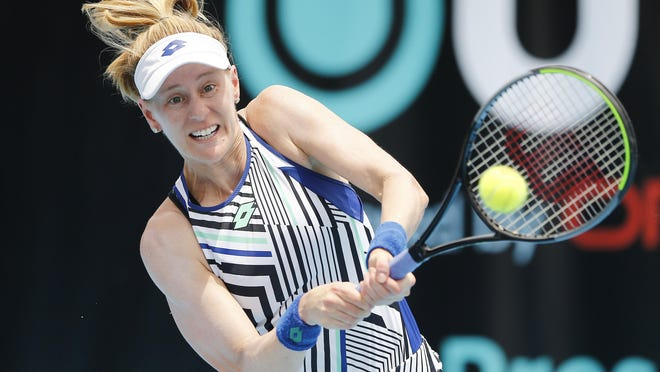 Alison Riske of the United States returns a shot to Danielle Collins of the United States during the UTR Pro Match Series Day 2 on Saturday in West Palm Beach. [Michael Reaves/POOL PHOTO VIA Getty Images)