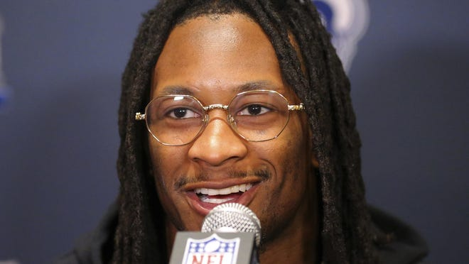 Los Angeles Rams running back Todd Gurley speaks to reporters during a press availability ahead of the NFL Super Bowl 53 football game against the New England Patriots, Thursday, Jan. 31, 2019, in Atlanta.