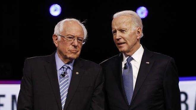 Democratic presidential candidate Joe Biden, right, is pushing progressive policies similar to those proposed by Sen. Bernie Sanders, a self-proclaimed Democratic Socialist, writes columnist Liz Peek.