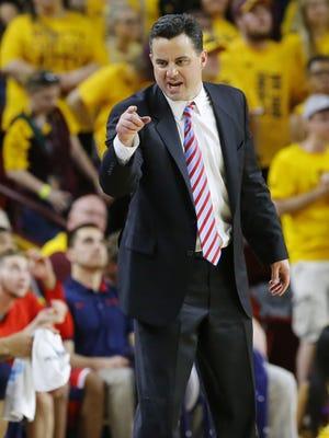 Arizona Wildcats head coach Sean Miller against the Arizona State Sun Devils in their NCAA basketball game Saturday, Mar. 4, 2017 in Tempe, Ariz.