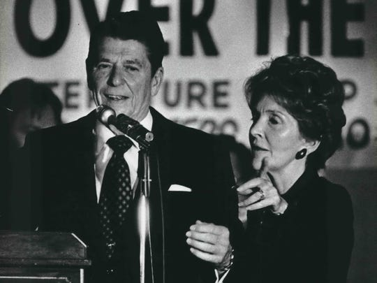 Ronald Reagan was joined by his wife, Nancy, at Serb Hall in Milwaukee on the presidential campaign trail in 1980.