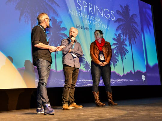 """Cinematographer Goran Hallberg, left, director Hannes Holm, middle, speak to students about the making of """"A Man Called Ove"""" during the Palm Springs International Film Festival's student screening day on Monday, Jan. 9, 2017."""