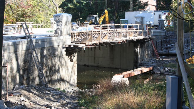 Reconstruction work from earlier this month on the Montebello Road bridge.
