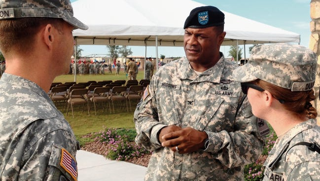 Col. Earl B. Higgins Jr. is shown here at his change of command in July 2015.
