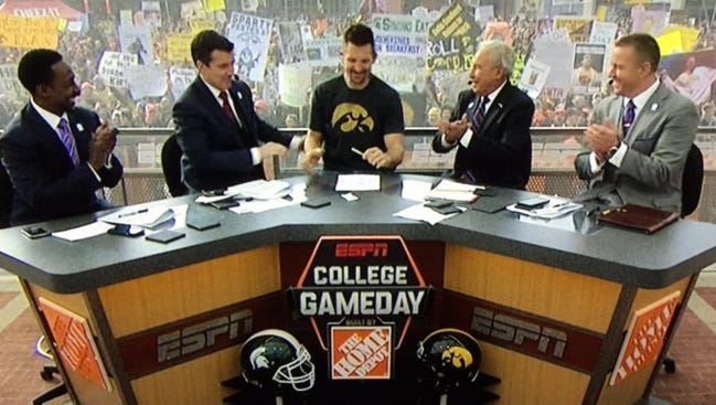 """Former Iowa great Dallas Clark joined the """"College GameDay"""" crew to offer his guest pick for Saturday night's Big Ten Conference championship game."""