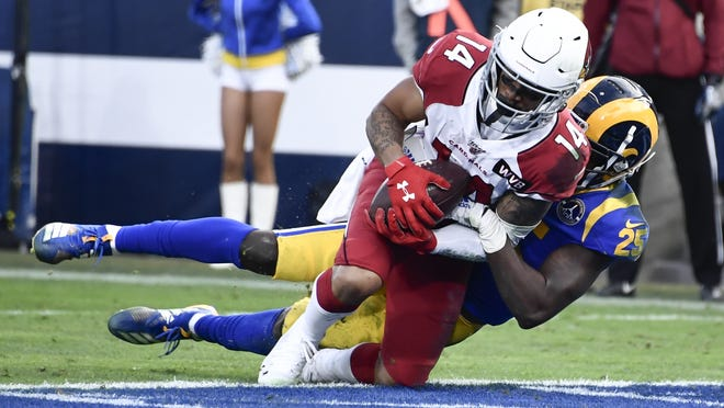 Arizona Cardinals wide receiver Damiere Byrd (14) hauls in a 3-yard pass for a touchdown in the third quarter against the Los Angeles Rams at Los Angeles Memorial Coliseum on Dec. 29, 2019. Byrd signed with the New England Patriots in the offseason.