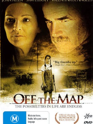 """""""Off the Map"""" (2003), starring Joan Allen, Sam Elliott, J. K. Simmons, Jim True-Frost and Valentina de Angelis, directed by Campbell Scott, screenplay by Joan Ackermann, based on her play of the same name. Filming locations in New Mexico include the junction of US 285 and NM 567 in Taos, Albuquerque, Carson National Forest and San Cristobal."""