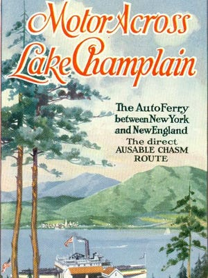 Brochure for the Auto Ferry across Lake Champlain.