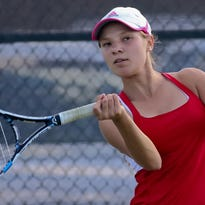 Brookfield East' No. 3 singles player Allison Brankle connects on a shot during her match against Lizzie Peterson of Brookfield Central during a dual tennis meet at Central on Sept. 15. They won the conference dual-meet title with a 6-0 record.