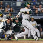Oakland's Jed Lowrie, from North Salem, ejected at Yankee Stadium