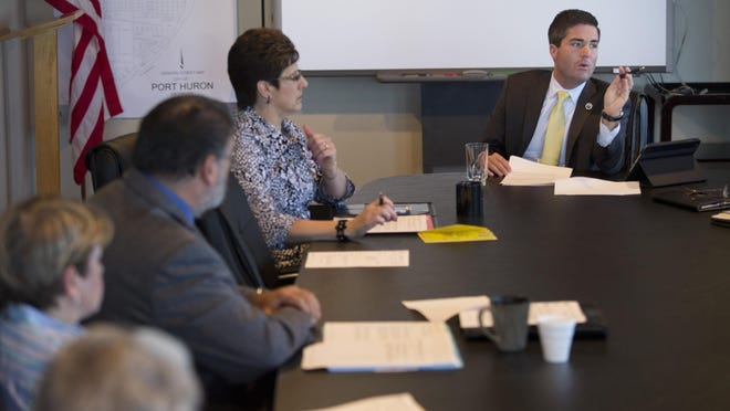 City Manager James Freed speaks during a meeting with department heads Wednesday, June 3, 2015 at the Municipal Office Center in Port Huron.