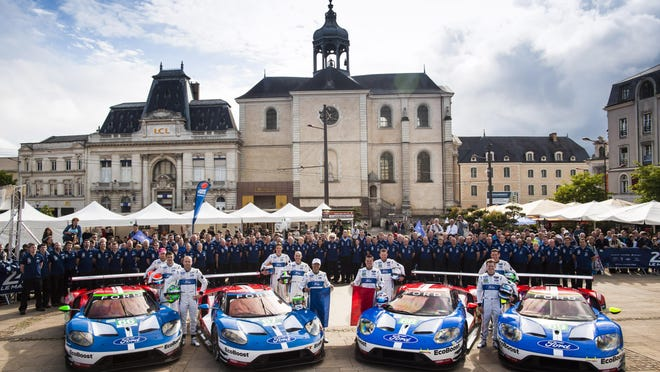 """Four Ford GTs have been entered in this weekend's race in France. """"I'm anticipating we'll do very well,"""" said Edsel Ford II, who will return with his family."""