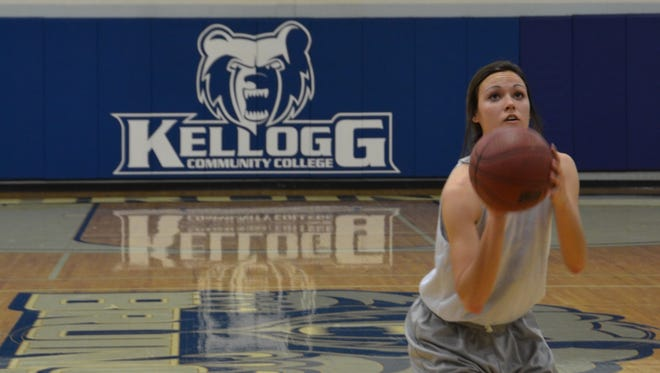 Kellogg Community College sophomore Holly VanTilburg shoots a free throw during a recent practice.