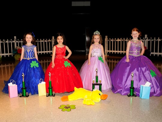 The 5-year-old winners are, from left, Kensley Smith, third runner-up, Macey Leach, first runner-up; Sloan Rouse, Little Miss; and Makayla Black, second runner-up and People's Choice winner.