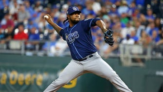 Alex Colome has 11 saves for the Rays this season.