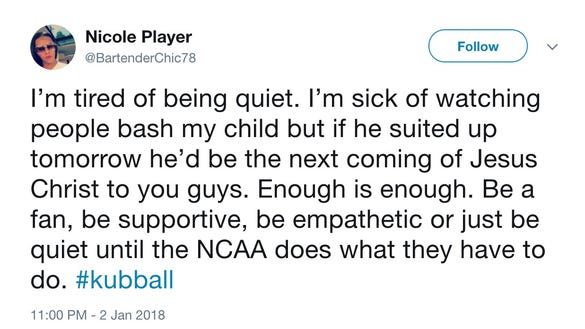 Suspended Kansas star's mom breaks silence: 'I'm sick of watching people bash my child'