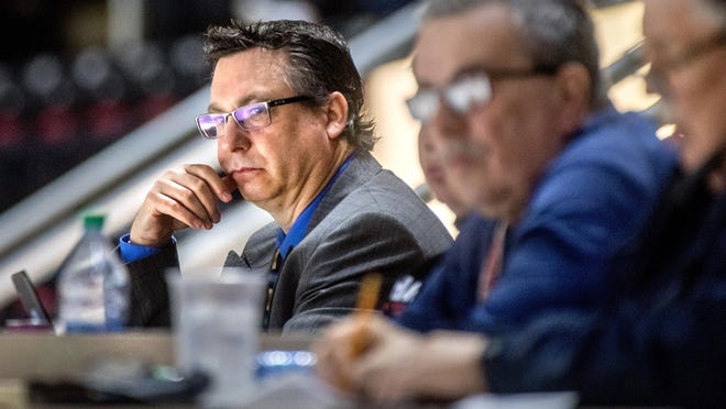 SPHL commissioner Doug Price keeps an eye on the action between the Peoria Rivermen and the Evansville Thunderbolts on Sunday, Feb. 16, 2020 at the Peoria Civic Center.