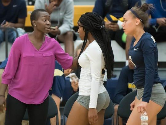 Battle Creek Central volleyball coach Winnie Lejukole
