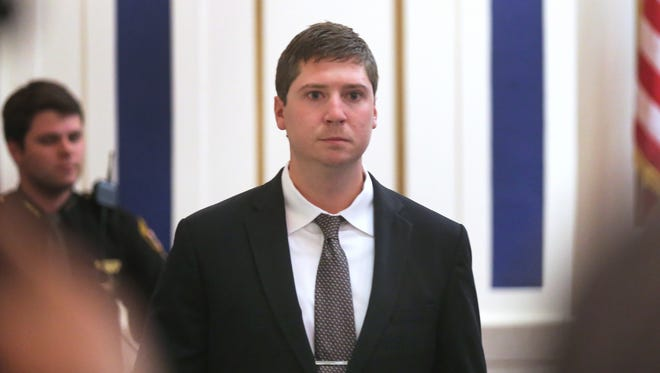 Ray Tensing enters court for the first time since his mistrial. Tensing, a former University of Cincinnati police officer, is charged with the murder.