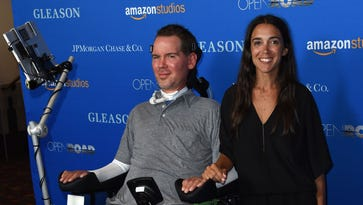 Steve Gleason and his wife, Michel Varisco,  attend the Los Angeles premiere of 'Gleason.'