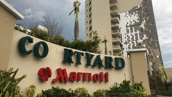 The Courtyard Marriott Isla Verde in San Juan lost a wall and had other structural damage from Hurricane Maria but mostly withstood the storm's barrage.