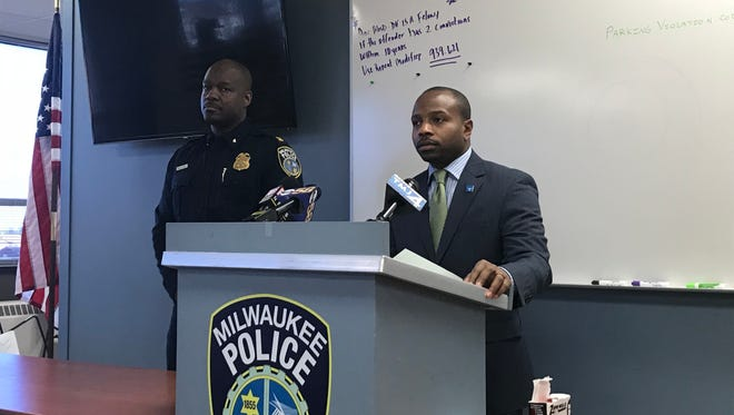 Ald. Cavalier Johnson and Capt. Andra Williams speak to reporters Feb. 26 at the District 4 station about an attempted carjacking that resulted in a fatal shooting.