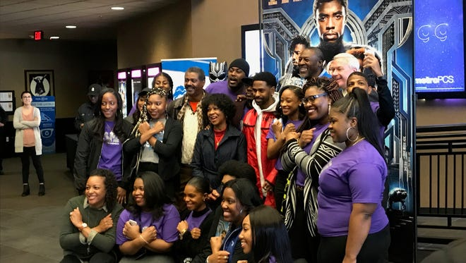 """Fans pose with Big Sean at Emagine Royal Oak at a screening of """"Black Panther"""" on Wednesday, Feb. 28, 2018."""