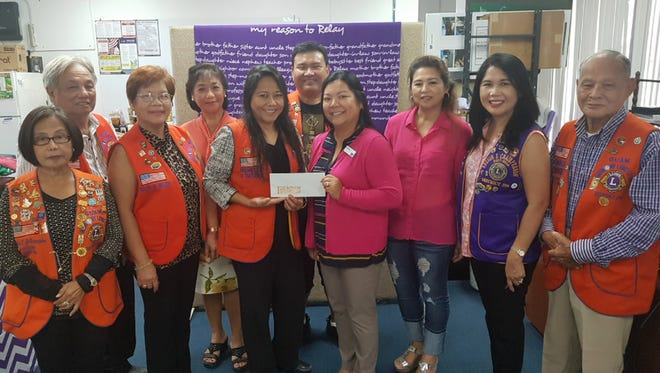 Guam Harmony Lions Club headed by president Michelle Hope Taitano presented on May 30,2018 their annual monetary donation to Tina Noket of American Cancer Society Guam to help fund the research on a cure for cancer. Pictured from left: past president Nilda Estampador, Juanito Milan, treasurer Nilfa Milan, Charter president Lynda Tolan, current president Taitano, immediate past president William Sevillo, Noket, board director Ruth Igtanloc, past president and region 1 chair Loisa Cabuhat and past president Armando Dominguez.