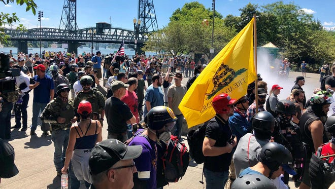 Thousands gather for a rally by two far-right groups on August 4, 2018 in Portland, Oregon.