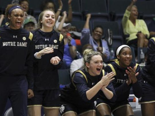 Notre Dame player react during the third quarter of