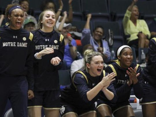 Notre Dame player react during the third quarter of an NCAA college basketball final game against South Carolina at the Gulf Coast Showcase NCAA college basketball championship, Sunday, Nov. 26, 2017, in Estero, Fla. Notre Dame won 92-85. (AP Photo/Luis M. Alvarez)