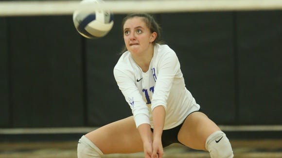 Haldane's Olivia Monteleone (11) digs a serve during their 3-0 loss to Tioga in the Class C volleyball regional semifinal match at Croton-Harmon High School in Croton-on-Hudson on Tuesday, November 7, 2017.
