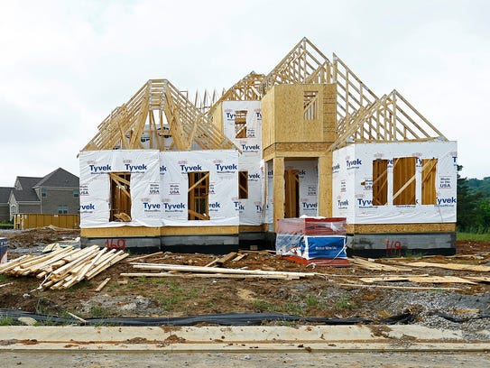 A new home under construction is seen in the Summerlyn