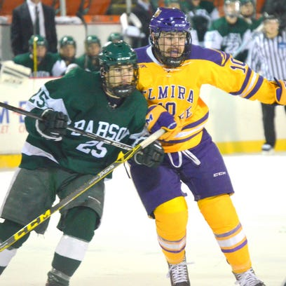Elmira's Jarryd ten Vaanholt and Babson's Bill Seligman go after the puck in Sundqay's game at Muarray Athletic Center.