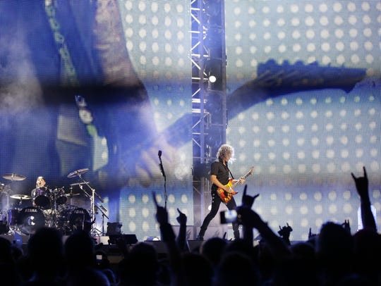 Kirk Hammett and Lars Ulrich of Metallica perform onstage
