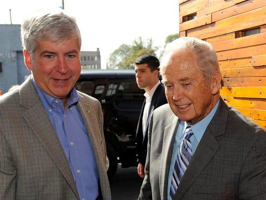 Rick Snyder with former Gov. William Milliken in Detroit in 2010.