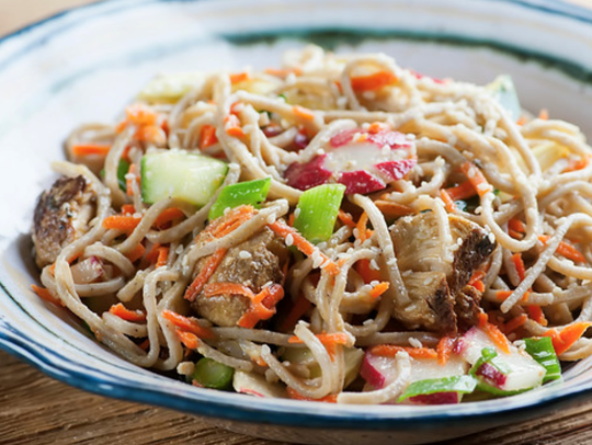 Chicken soba noodle salad tastes like spring