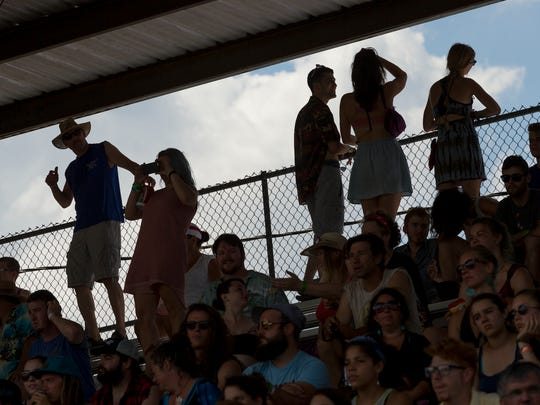 The crowd in the Grandstand watches The Blind Spots