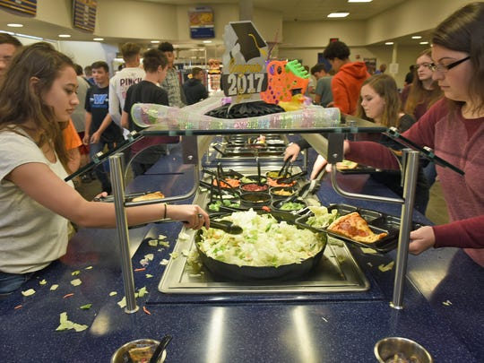 A salad bar is available for students at Waynesoboro Area Senior High School.