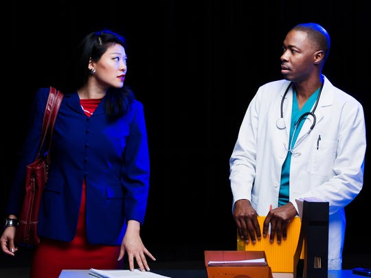"Christine Lin, left, and Shawn Whitsell in ""Smart People"" at The Rep."