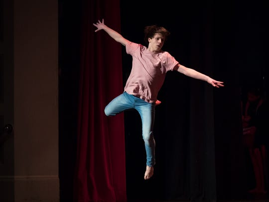 Toby Trish performs during Hanover Has Talent on Saturday. Trish performed his routine in memory of his cousin, Shane D. Hockensmith, who died a week earlier in a construction accident.