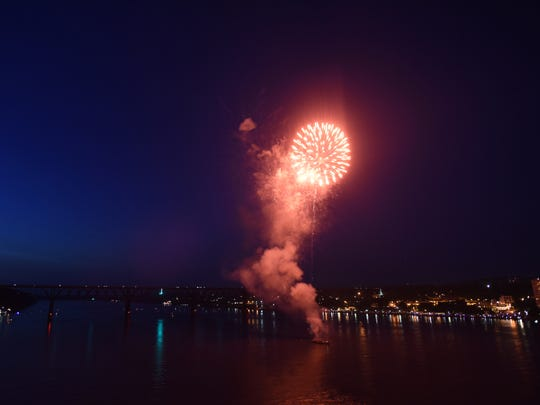 The City of Poughkeepsie 2015 Fourth of July fireworks display on the Hudson River.