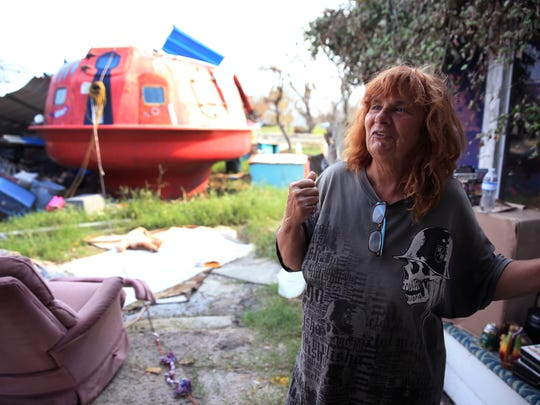 Linda Castor, a resident of Holiday Beach in Aransas County, bought a hurricane pod about seven years ago. Castor and two others rode out Hurricane Harvey in the capsule.