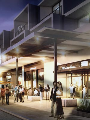 An architect's sketch of the Hyatt Andaz Palm Springs — a 150-room and 17-suite hotel development planned for the corner of North Palm Canyon Drive and Alejo Road in downtown.