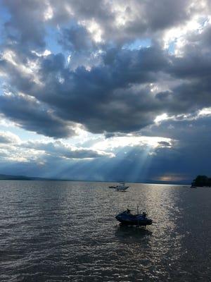 Light shines through over Lake Champlain.